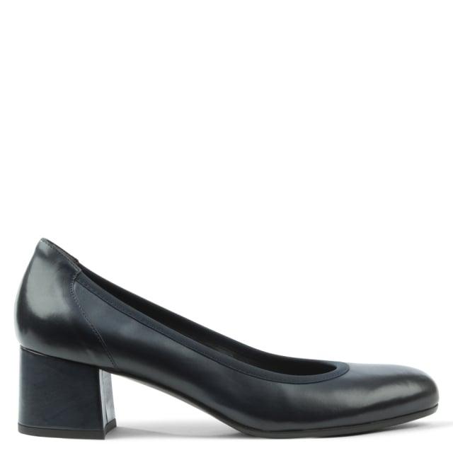 0e1b8f3feb Calpierre Navy Leather Round Toe Court Shoe