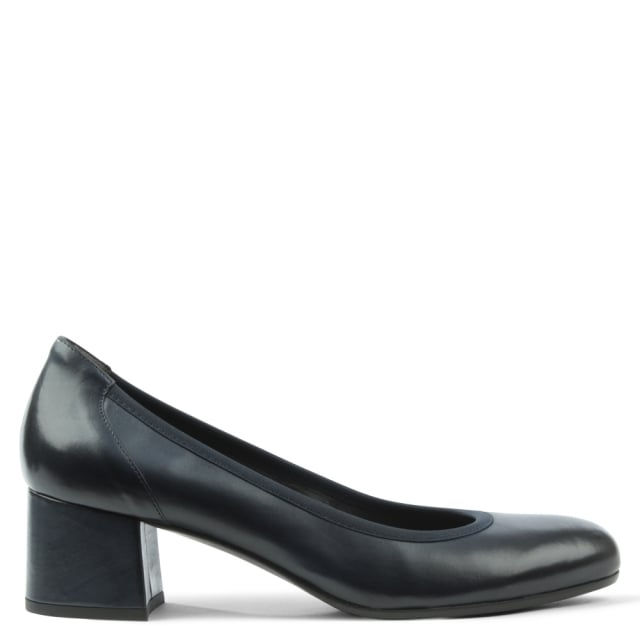 Navy Leather Round Toe Court Shoe