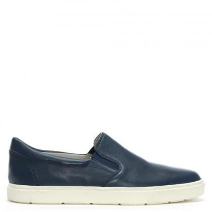 Navy Leather Slip On Sneakers