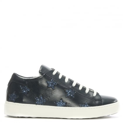 Navy Leather Star Motif Trainer