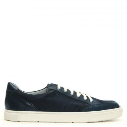 Navy Leather & Suede Lace Up Sneakers