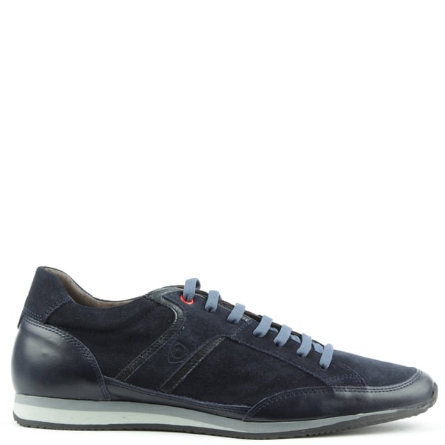 Navy Leather & Suede Sporty Lace Up Trainer