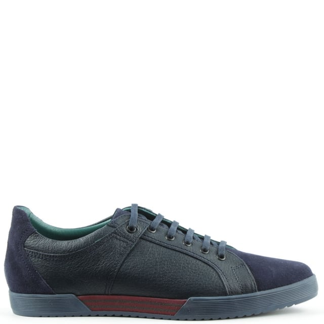 Navy Leather Suede Toe Lace Up Trainer