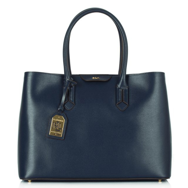 Navy Leather Tate City Tote Bag