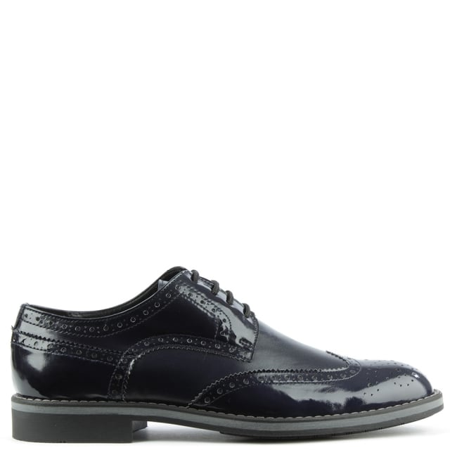 Navy Patent Patent Lace Up Brogue