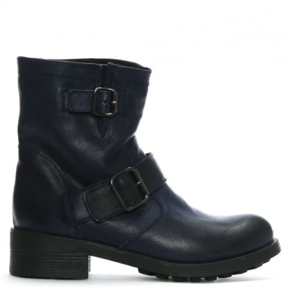 Navy Pebbled Leather Biker Boots