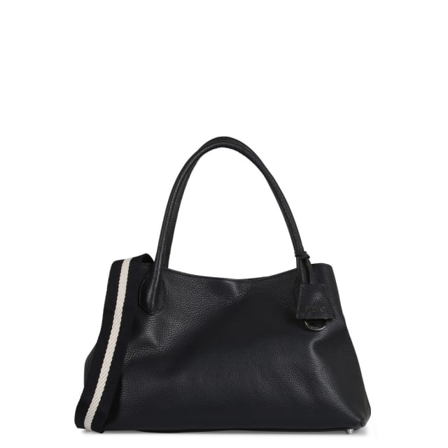 Abro Navy Pebbled Leather Day Bag