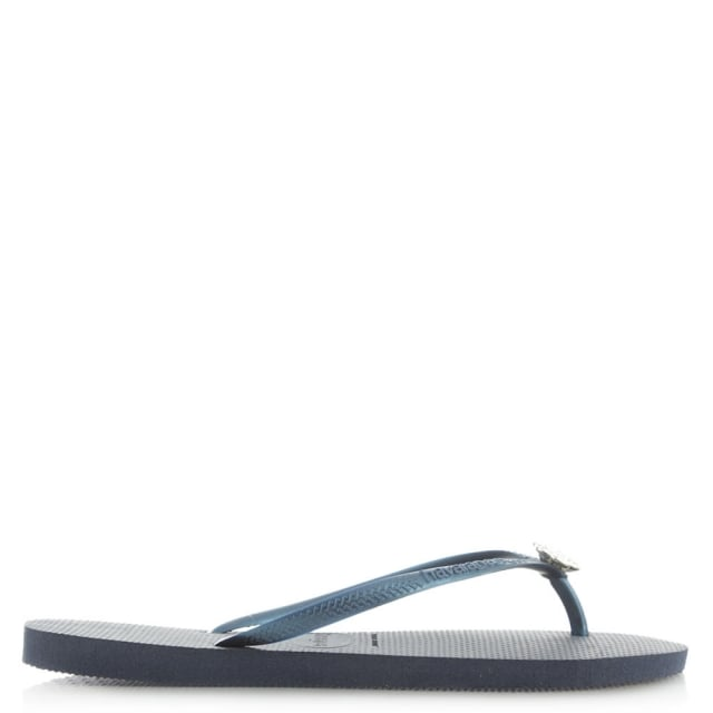 Navy Slim Crystal Poem Women's Flip Flop