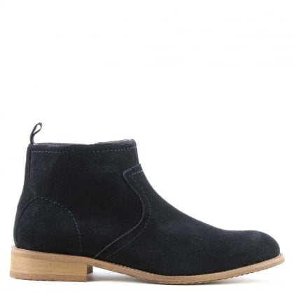 Navy Suede Ankle Boot