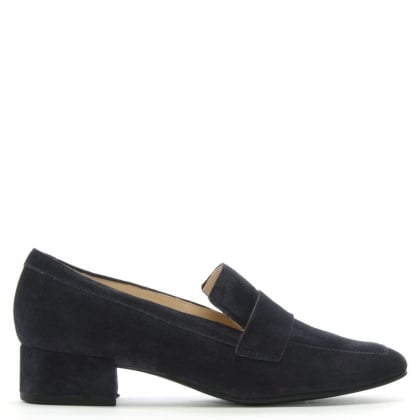 Navy Suede Block Heel Loafers