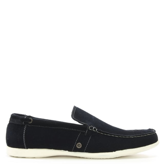 Navy Suede Contrast Sole Loafers