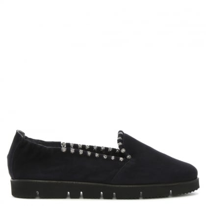 Navy Suede Jewelled Slip On Pumps