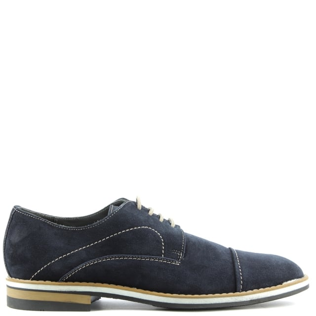 Navy Suede Lace Up Shoe
