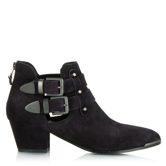 Navy Suede Ockerden Cut Out Ankle Boot