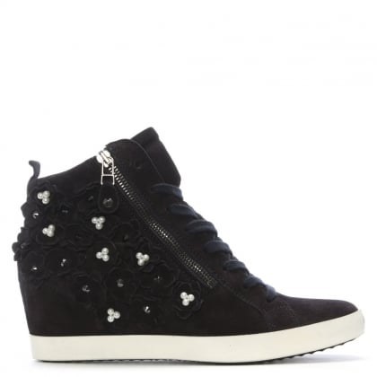 Navy Suede Pearl Embellished High Top Trainers