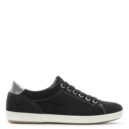 Navy Suede Silver Trim Lace Up Trainers