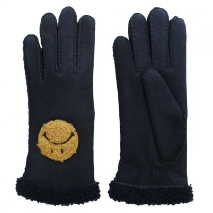 Navy Suede Smiley Face Gloves