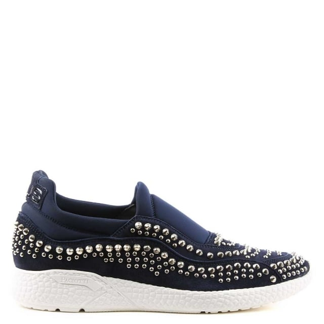 Navy Suede Studded Sporty Trainer