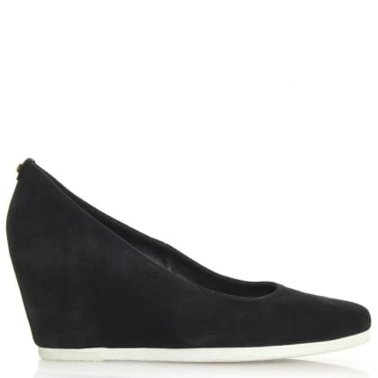 Hogl Navy Suede Wedge Court Shoe