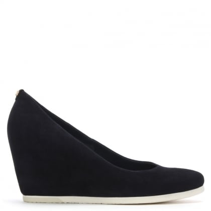 f6f3a8ab4035f Navy Suede Wedge Court Shoes