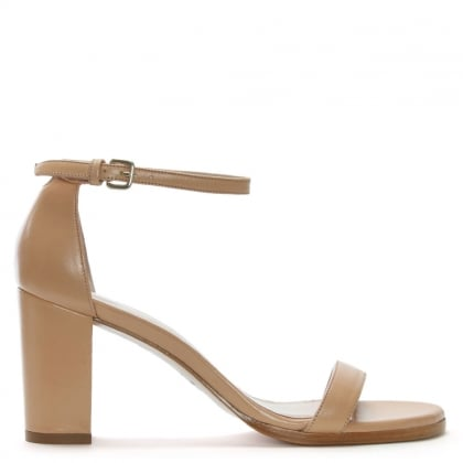 Nearly Nude Beige Leather Block Heel Sandals