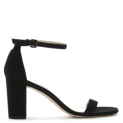 Nearly Nude Black Suede Block Heel Sandals