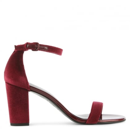 Stuart Weitzman Nearly Nude Red Velvet Block Heel Sandal