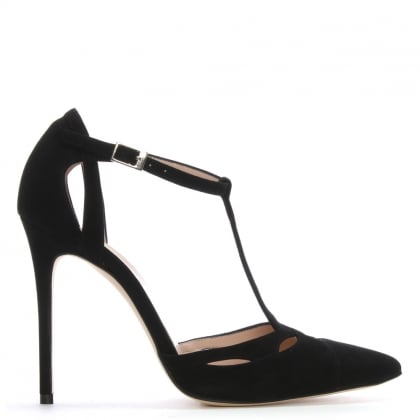 Neila Black Suede Ankle Strap Sandals