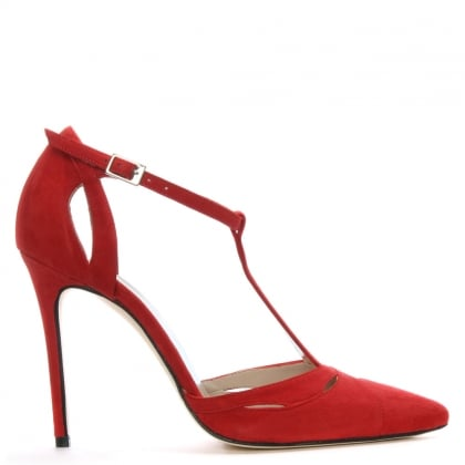 Neila Red Suede Ankle Strap Sandals