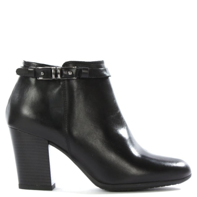 Nemesia Black Leather Metal Trim Ankle Boot