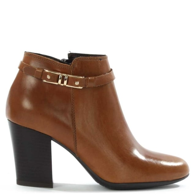 Nemesia Tan Leather Metal Trim Ankle Boot