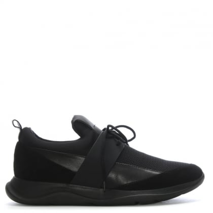 Nenthall Black Leather & Suede Trainers