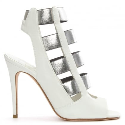 Nessy White Leather Caged Sandal