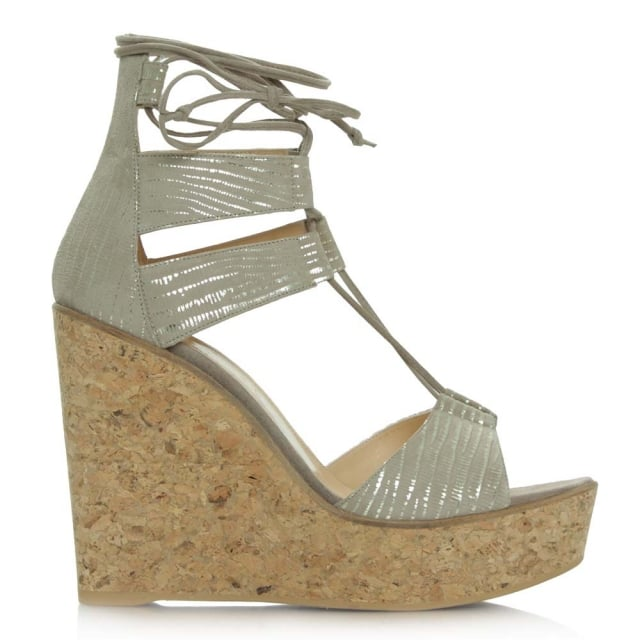 New England Beige Leather Strappy Wedge Sandal