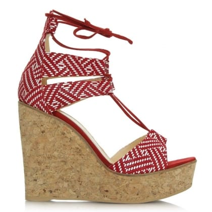 New England Red Leather Strappy Wedge Sandal