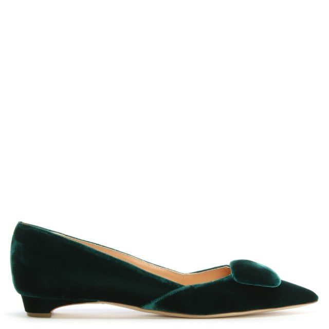 9ee447c7c7de Rupert Sanderson New Green Velvet Pointed Toe Pumps