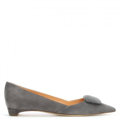 New Grey Suede Pointed Toe Pumps