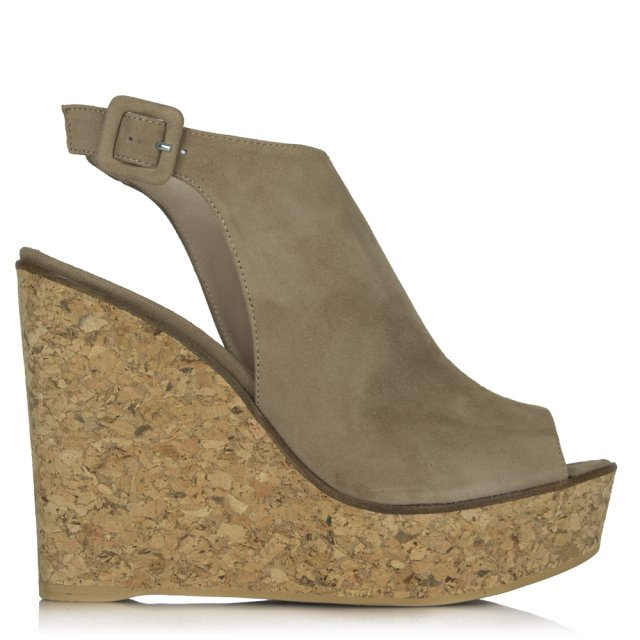 New Mexico Beige Suede Peep Toe Ankle Strap Wedge Sandal