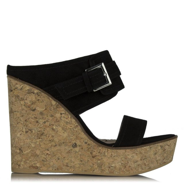 New Orleans Black Suede Two Bar Wedge Mule