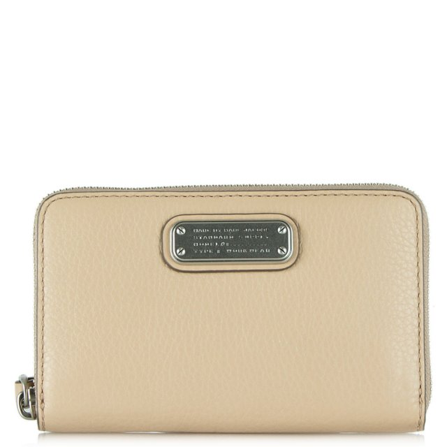 New Q Wingman Nude Leather Wrist-Let Zip Around Wallet