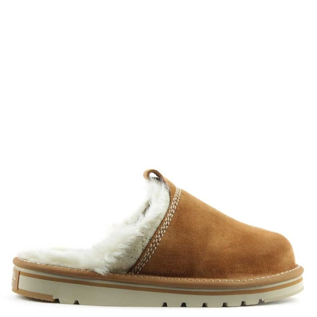 Newbie Tan Suede Fleece Lined Slipper