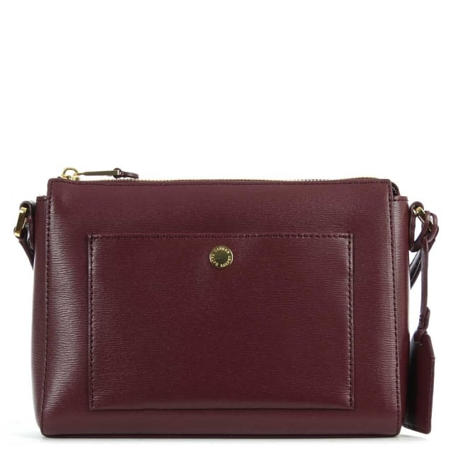 Newbury Pocket Burgundy Leather Cross-Body Bag
