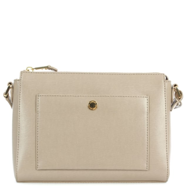 Newbury Pocket Taupe Leather Cross-Body Bag