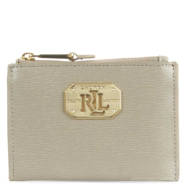 Newbury Taupe Leather Mini Top Zip Coin Purse