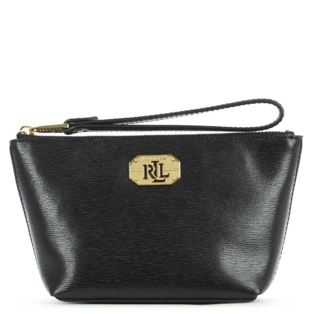 Newbury Wristlet Black Leather Wrist-Let Cosmetic Pouch