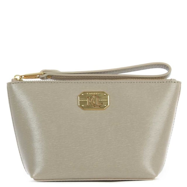 Newbury Wristlet Taupe Leather Wrist-Let Cosmetic Pouch