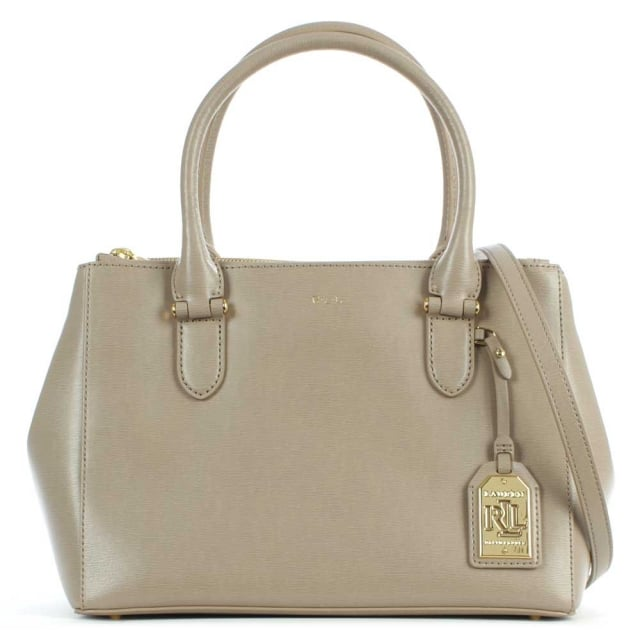 Newbury Zipper Taupe Leather Shopper Bag