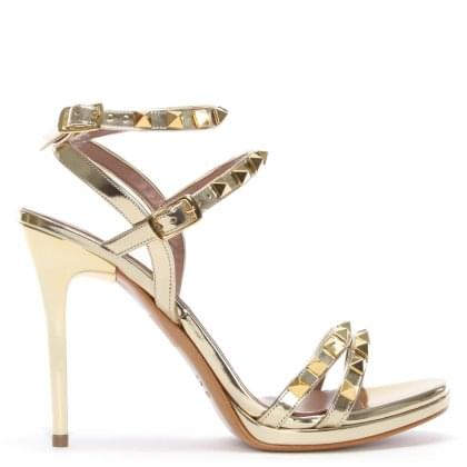 Newell Gold Metallic Leather Studded Stiletto Sandals