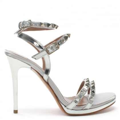 Newell Silver Metallic Leather Studded Stiletto Sandals