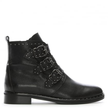 Nibble Black Leather Studded Biker Boots